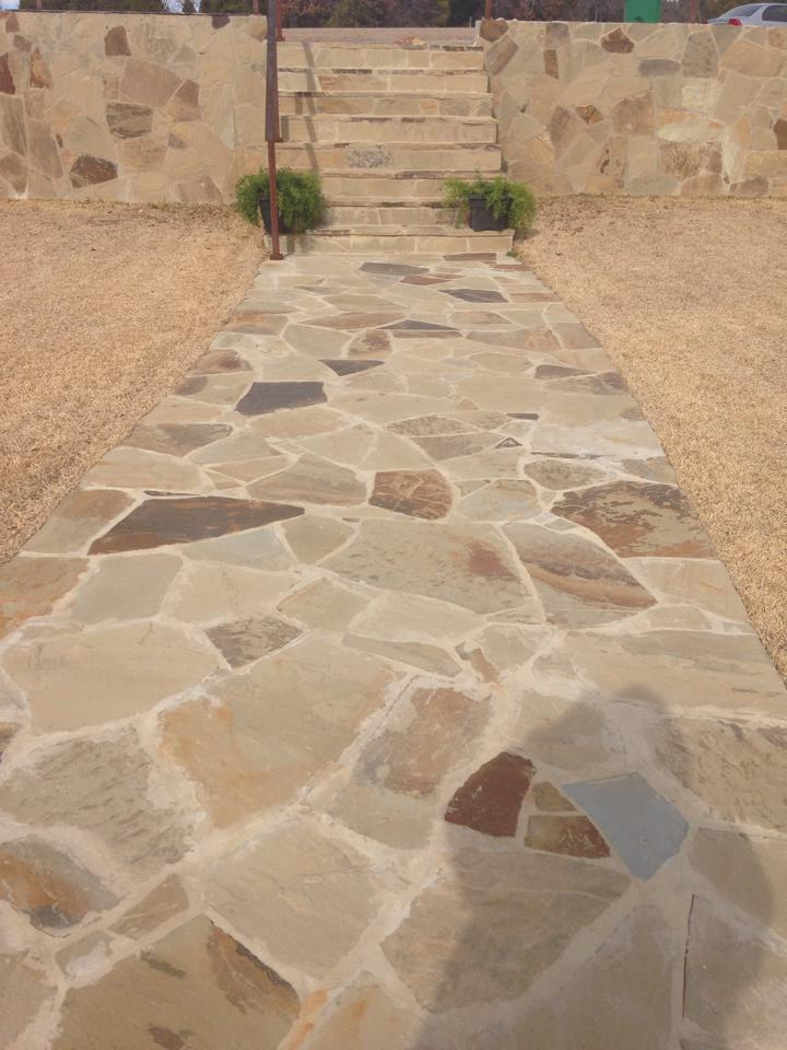 Residential Stone Walkway In Denton Waterview